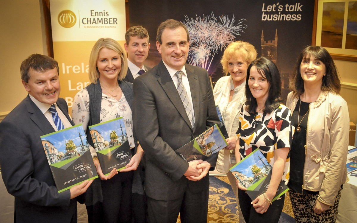 (L-R) Padraic McElwee, Head of Enterprise, Clare County Council; Jean McCabe President of Ennis Chamber and Willow, Ennis; Brian McCarthy, Senior Planner, Clare County Council; Gerard Dollard, Interim Chief Executive, Clare County Council; Gwen Culligan, County Boutique, Ennis; Tina Grogan, Enzo's Parnell Street, Ennis; and Maeve Culligan, County Boutique pictured at the 2016 Retail Retreat in Carlow. Pic Thomas Sunderland Photography.