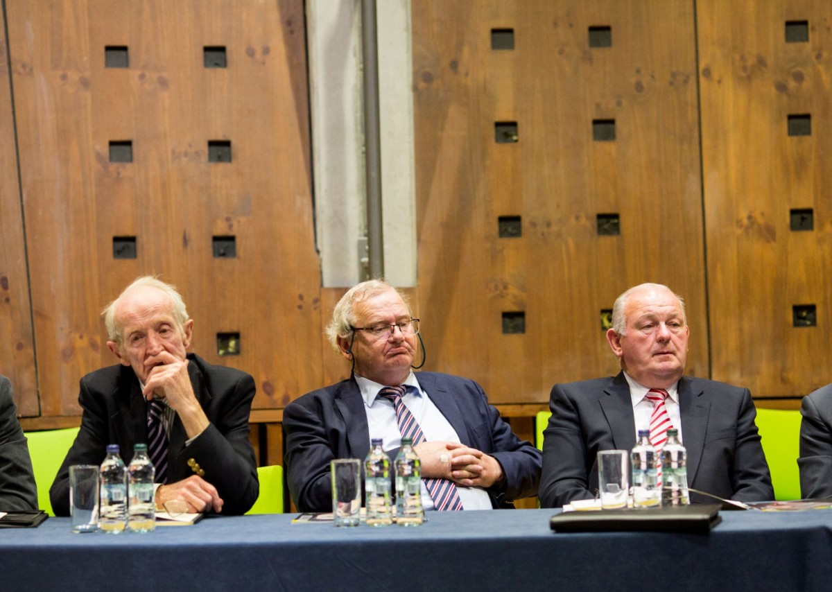 Pictured at the Clare County Council meeting in UL; PJ Kelly, Pat McMahon, PJ Ryan. Pic: Alan Place