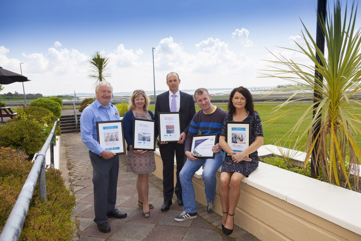 Accepting Disability Confidence champion and job shadow day 2016 participant certificates on behalf of their companies  (from left): Tommy O'Doherty, Department of Social Protection; Mary Holland, Lynch's Centra, Ennis; Cathal Esler, Shannon Airport; Owen Ryan, Clare Champion; and Helen Downes, Shannon Chamber. Photo by Salvatore Conte.