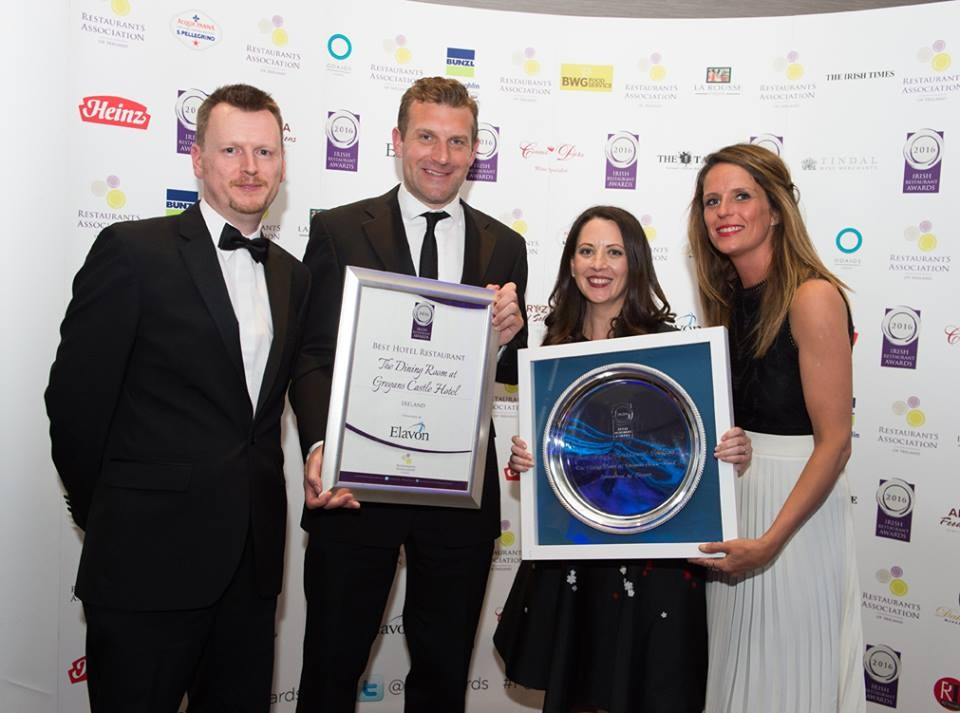 The team at Gregan's Castle Hotel accept their award.