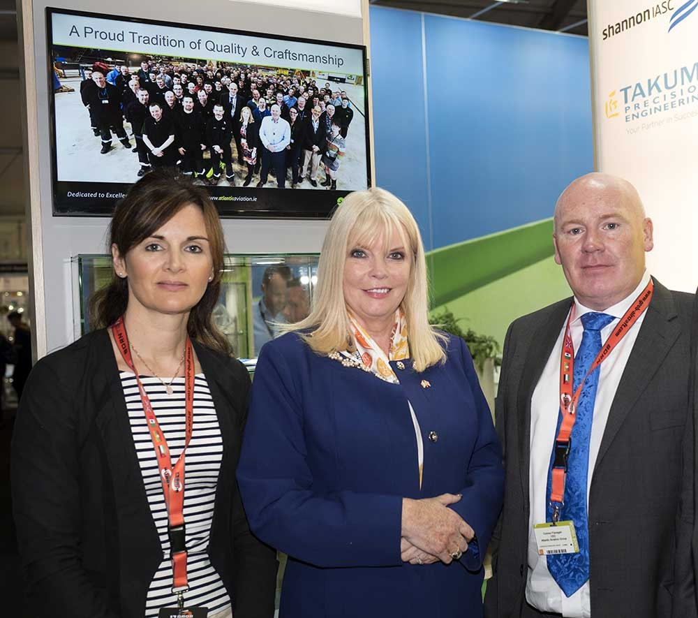 Atlantic Aviation Group HR and Training Director Caoimhe O'Donnell, Minister for Jobs, Enterprise and Innovation Mary Mitchell O'Connor, Atlantic Aviation Group CEO Connor Flanagan