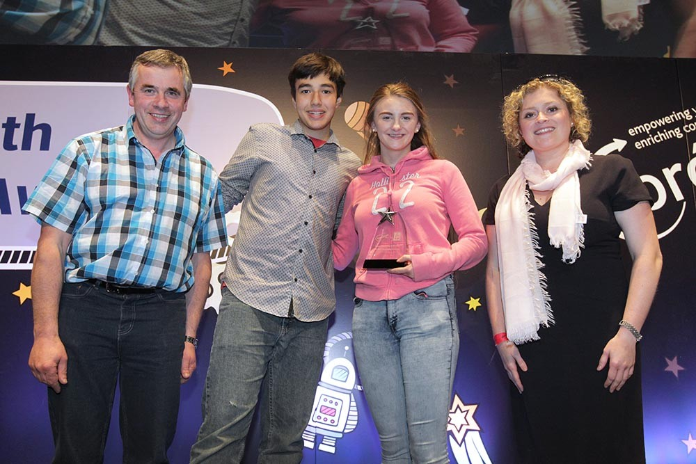 Jordan Cassells and Jane Doyle, from Scarriff Foróige Club, Co Clare receive their Silver Star Award
