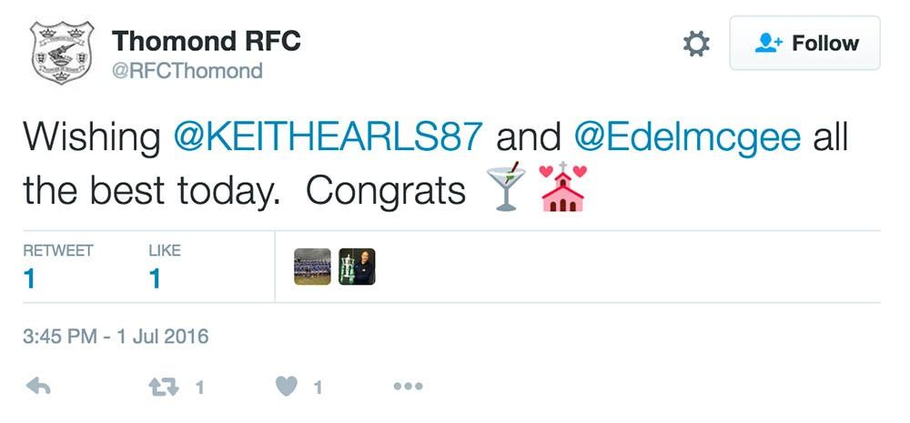 Keith Earls wedding tweets