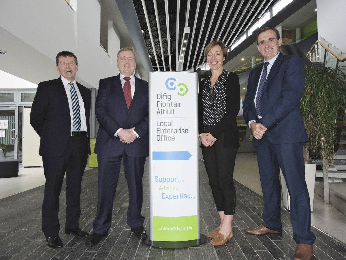 Pictured at Áras Contae an Chláir in Ennis (left to right) Padraic McElwee, Head of Enterprise, Local Enterprise Office Clare; Pat Breen, T.D., Minister of State for Employment & Small Business; Catherine Hogan, Enterprise Ireland; and Gerard Dollard, Interim Chief Executive, Clare County Council.