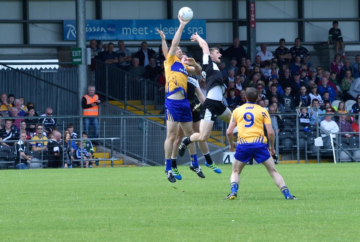 Gary Brennan fields a high ball against Sligo. Pic: Martin Connolly