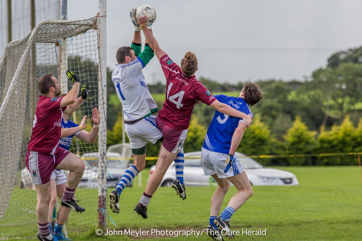 Safe hands as Pierce DeLoughrey controls the ball against Lissycasey. Pic: John Meyler