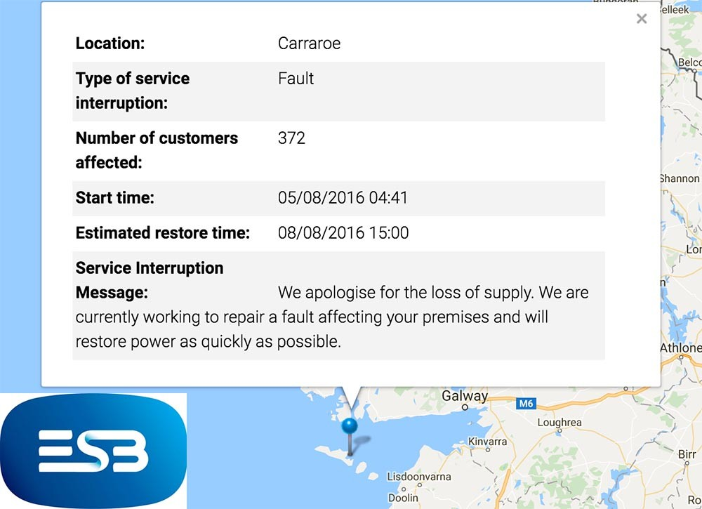 According the ESB website, 372 customers are affected.
