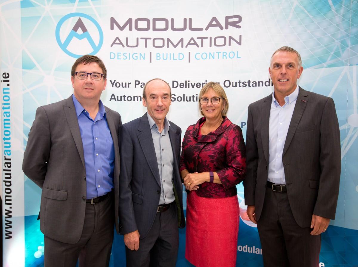 Martin Dolan, Commercial Director Modular Automation, Mike Lane CEO, Julie Sinnamon Enterprise Ireland CEO & Shane Quilligan Operations Director Modular Automation. Pic: Sean Curtin (True Media)
