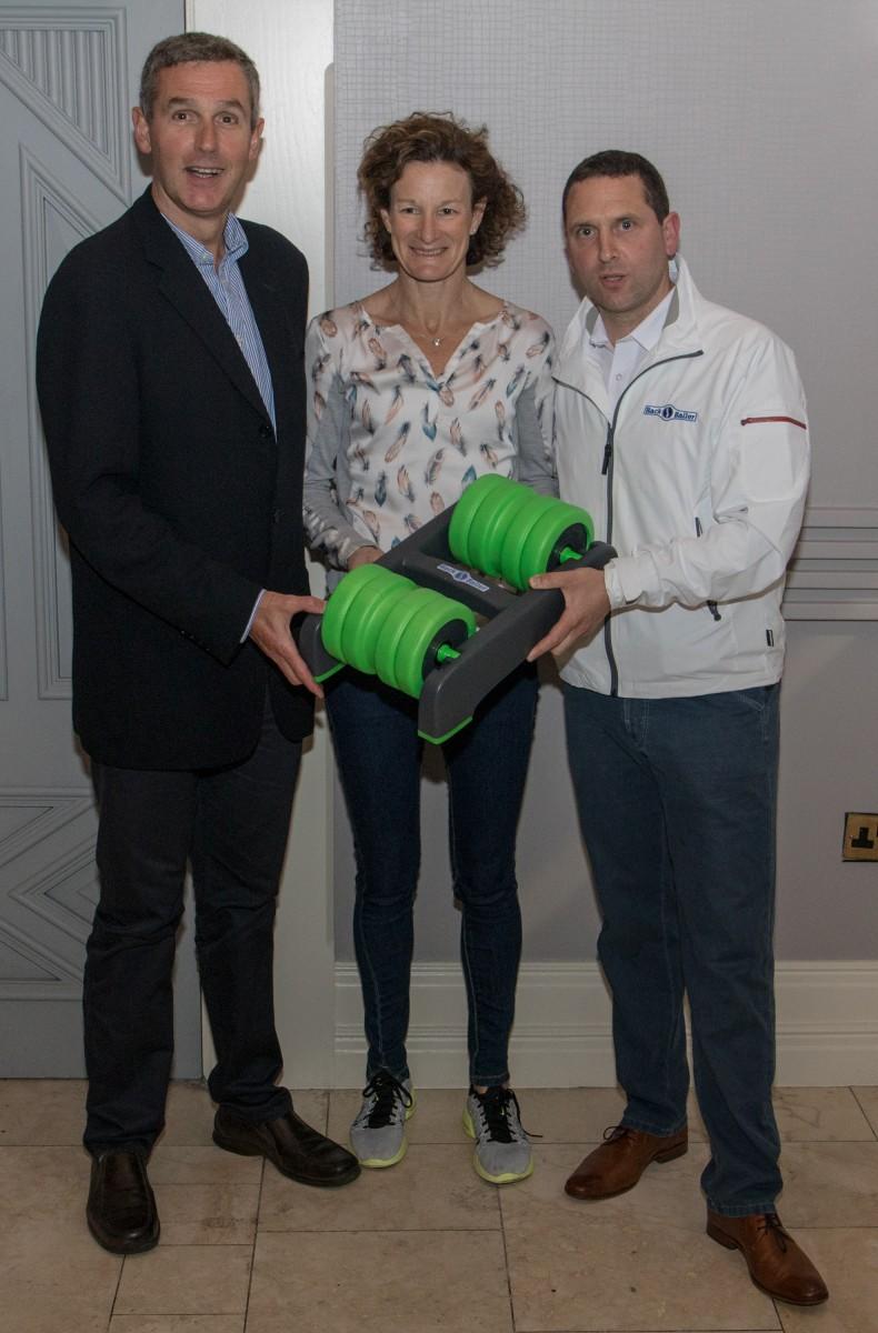 Ger Hartmann and Sonia O'Sullivan launching BackBaller with inventor Noel Marshall in Shannon last week