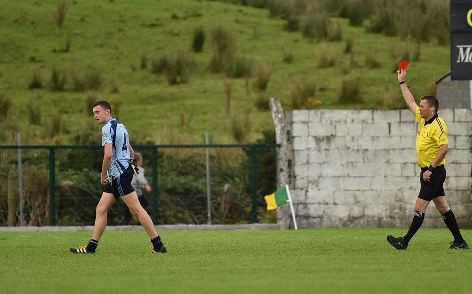 Killian Burke is shown a red card. Pic: Martin Connolly