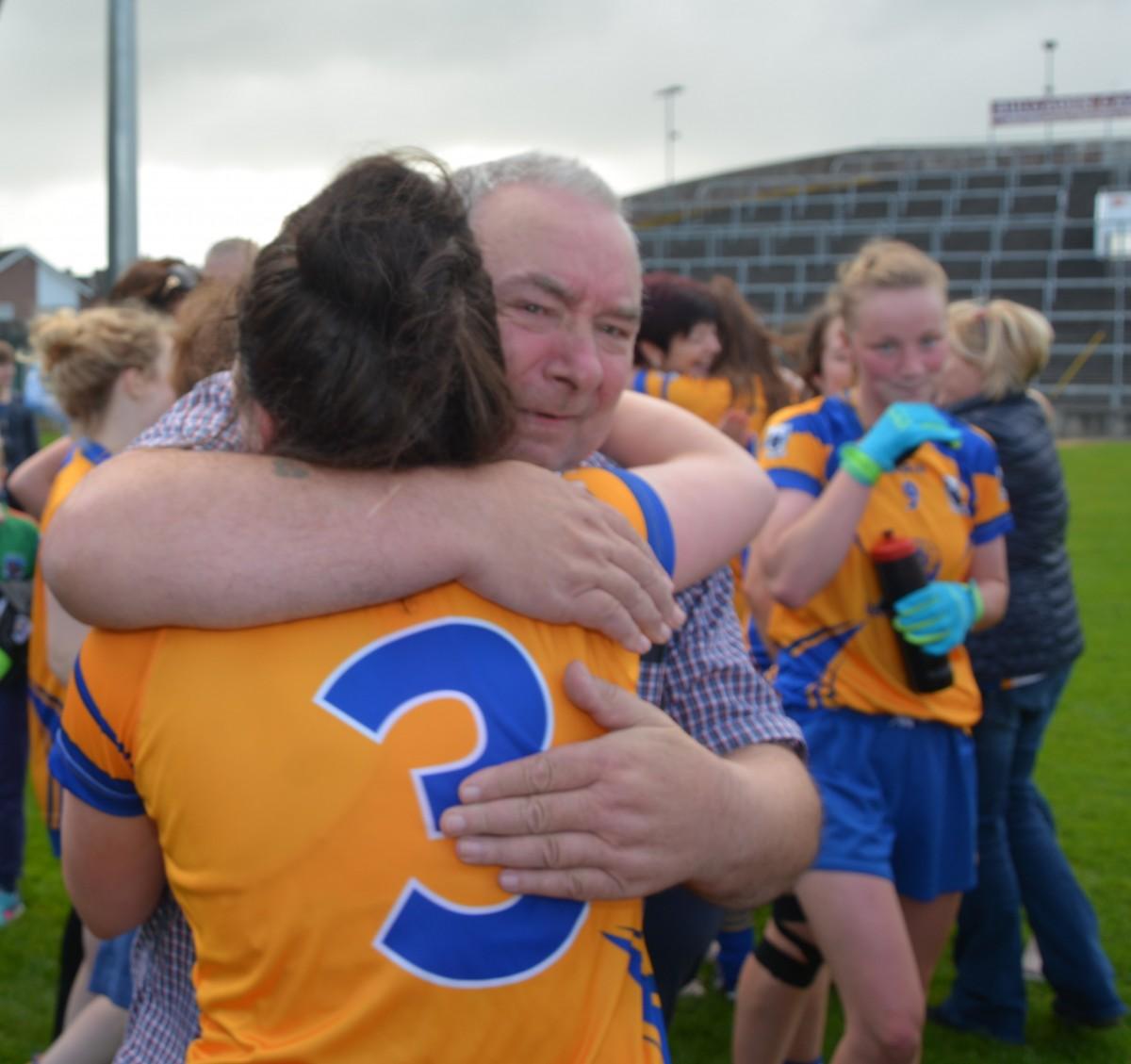 Laurie Ryan is congratulated following Clare's semi-final win. Pic: David Dillon
