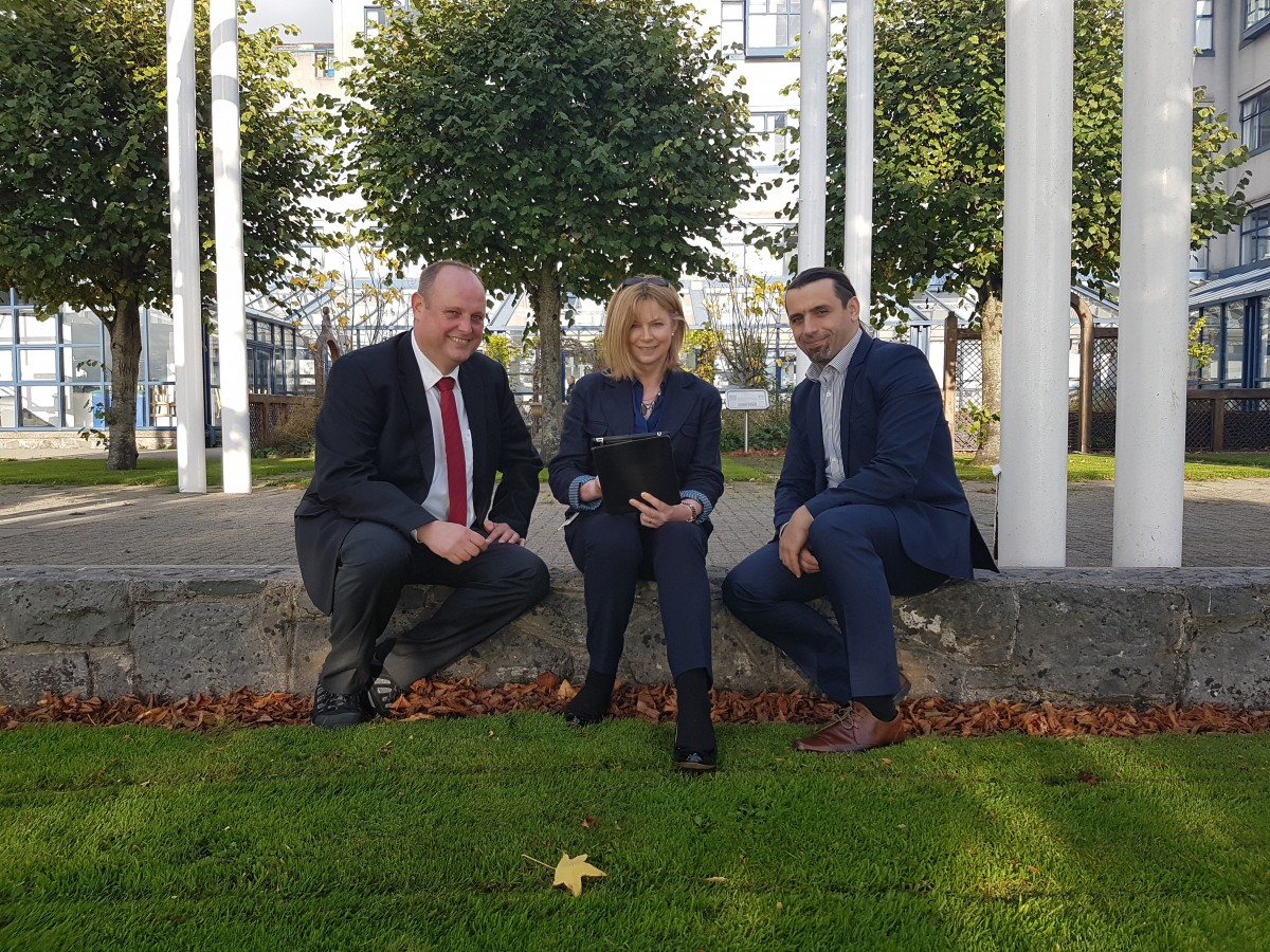 SFI funded Lero Investigator, Dr. Markus Helfert, Director of the Business Informatics Group at Dublin City University; Beatrice Heneghan, Programme Manager Digital Strategy and Dr Mihai Bilauca, Head of Digital Strategy, both of Limerick City and County Council. Photo: Denis Tierney