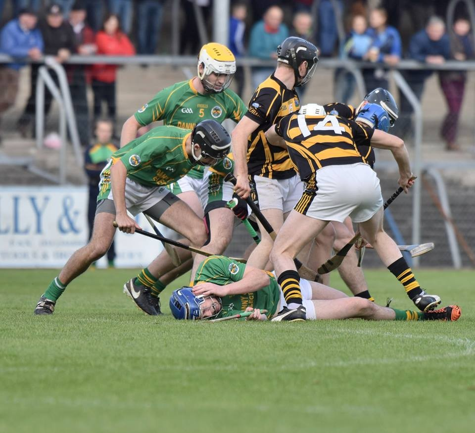 scramble for possession as Darren Chaplin lies on the ground. Pic: Martin Connolly