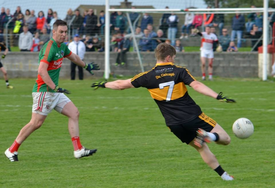 Enda Coughlan in action for Kilmurry Ibrickane during their recent Munster Club Championship tie with Dr Crokes.
