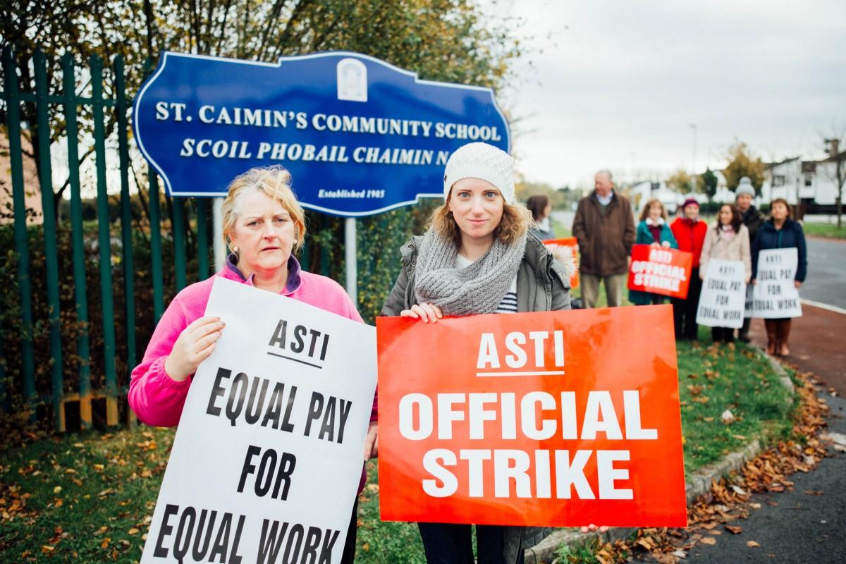 Teachers Bernadette Dalton & Niamh McDonnell outside St Caimin's Community School. Pic: Brian Arthur