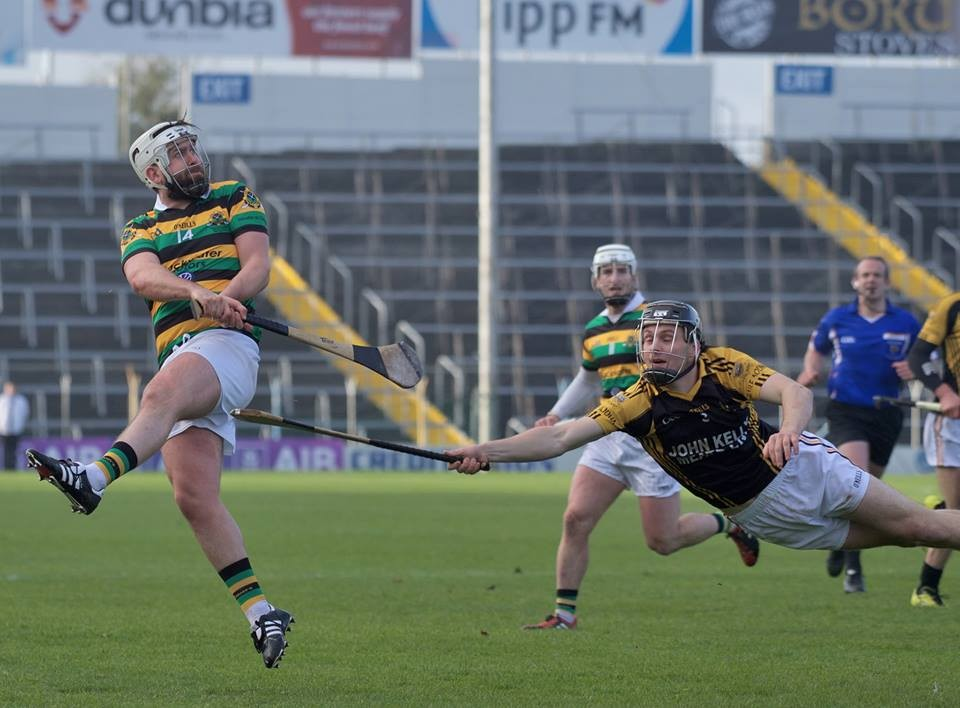 Jack Browne attempts to block Cathal O'Brien. Pic: Martin Connolly
