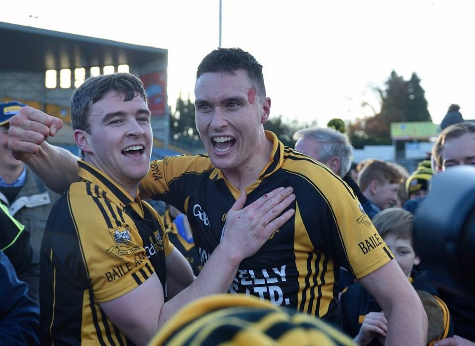 Tony Kelly & Damien Burke rejoice following the final whistle. Pic: Martin Connolly