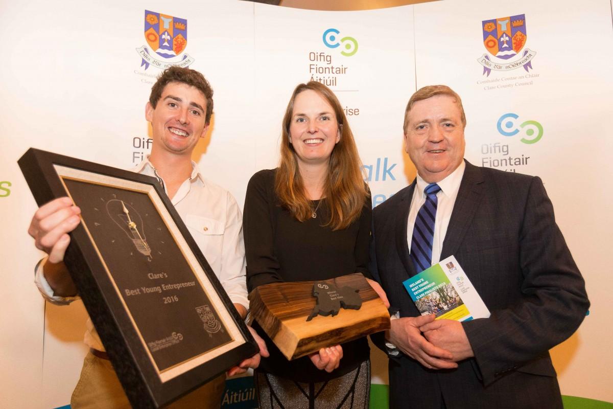 Damian Mason & Elizabeth Mason, Flexibod, winner Best Idea with Pat Breen